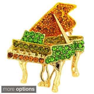 Gold or Silverplated Metal Cubic Zirconia Piano Pin Brooch
