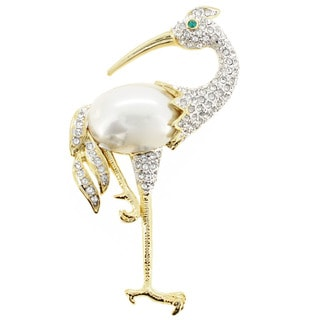 Goldplated Metal Cubic Zirconia White Crane Bird Crystal Pin Brooch