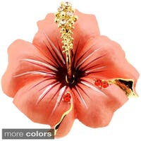 Small Hawaiian Hibiscus Crystal Flower Pin Brooch and Pendant
