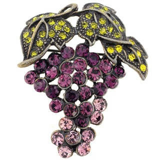 Crystal Grape Pin Brooch