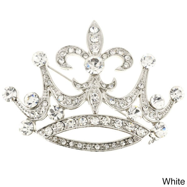 Shop Silverplated Cubic Zirconia Fleur de Lis Sign Crown Brooch Pin ... b1d71879449e