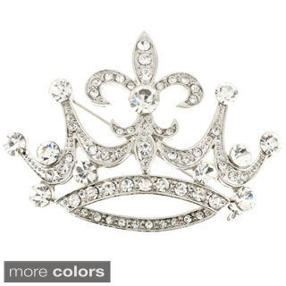Silverplated Cubic Zirconia Fleur de Lis Sign Crown Brooch Pin