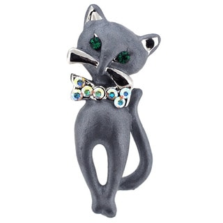 Grey Cat Bow Tie Brooch