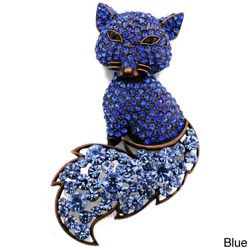 Cubic Zirconia Fox Animal Pin Brooch (Blue Crystal Fox An...