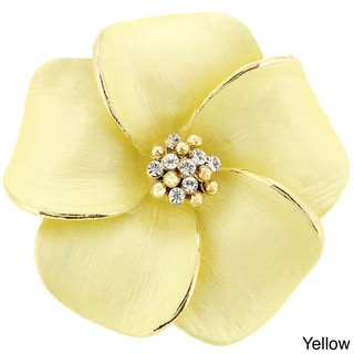 Hawaiian Plumeria Flower Crystal Pin Brooch