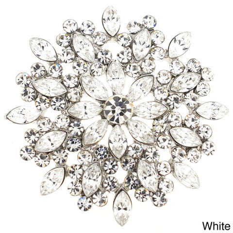 Cubic Zirconia Flower Wedding Pin Brooch