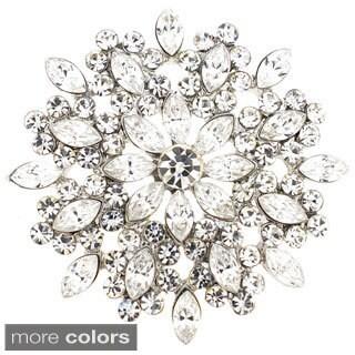 Great Cubic Zirconia Flower Wedding Pin Brooch