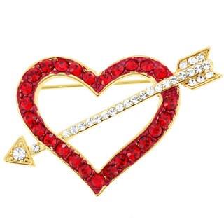 Goldplated Metal Red Heart Austrian Crystal Pin Brooch