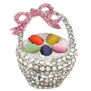 Silverplated Metal Cubic Zirconia Easter Basket Brooch Pin