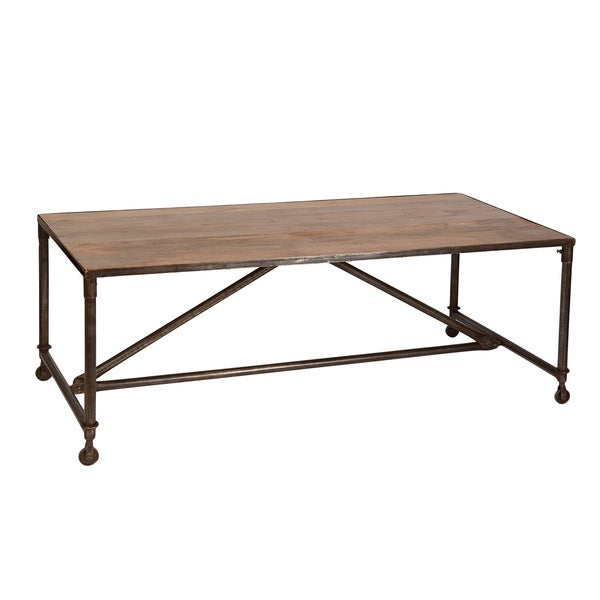 Cdi International Industrial Kitchen Cart With Mango Top: Industrial Natural Mango Wood/ Metal Dining Table