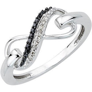 10k White Gold Black and White Diamond Accent Infinity Ring