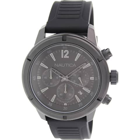 Nautica Men's N18709G 'NST' Chronograph Black Silicone Watch