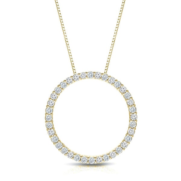 Auriya 14k yellow gold diamond circle necklace free shipping today auriya 14k yellow gold diamond circle necklace aloadofball Choice Image