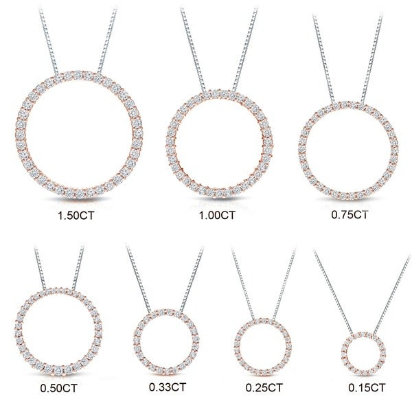 Auriya 14k Rose Gold Diamond Circle Necklace
