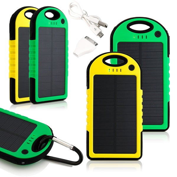 Gearonic 5000mah Solar Charger Battery Usb Power Bank For