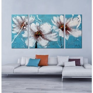 Hand-painted 'Heaven Blue' 3-piece Gallery-wrapped Canvas Art Set