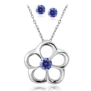 Icz Stonez Sterling Silver Blue CZ Earring and Flower Pendant Set