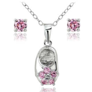 Icz Stonez Silver Pink Cubic Zirconia Studs and Shoe Necklace Set