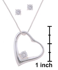 Icz Stonez Sterling Silver CZ Earring and Heart Pendant Set