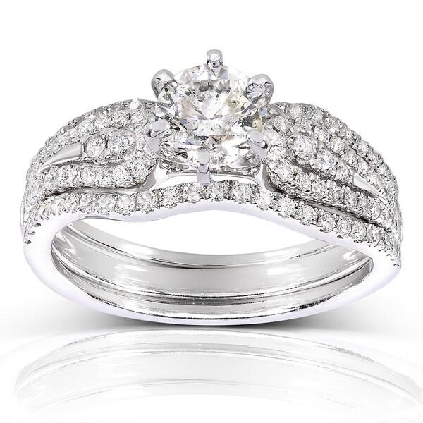 Annello by Kobelli 14k White Gold 1 1/5ct TDW 3-Piece Diamond Bridal Set