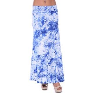 White Mark Women's Blue Tie-dye Maxi Skirt