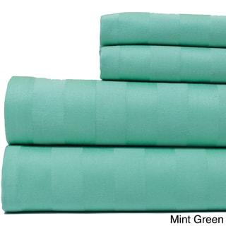 Egyptian Cotton 500 Thread Count Damask Stripe Bright Sheet Set