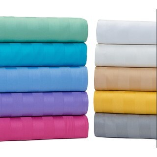 Egyptian Cotton 500 Thread Count Damask Stripe Bright Sheet Set (More options available)