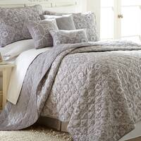 Amrapur Overseas Grey Geometric 6-piece Quilt Set