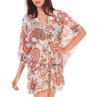 La Leela Super LIGHTWEIGHT CHIFFON Dancing Paisley Swim Bikini Cover up Dress Orange