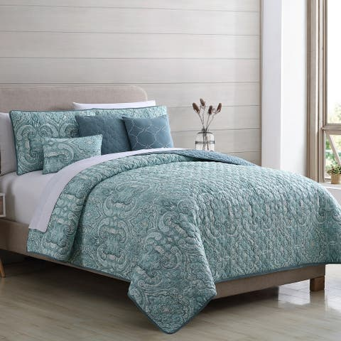 Modern Threads Paisley 6-Piece Reversible Quilt Set