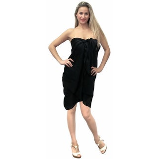 La Leela 7 Ways To Wear Wrap Plus Size Sarong Bikini Dress Cover up US 3X Black