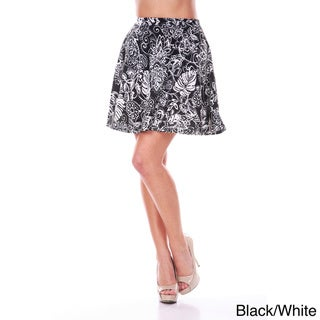 White Mark Women's Floral Flare Mini Skirt