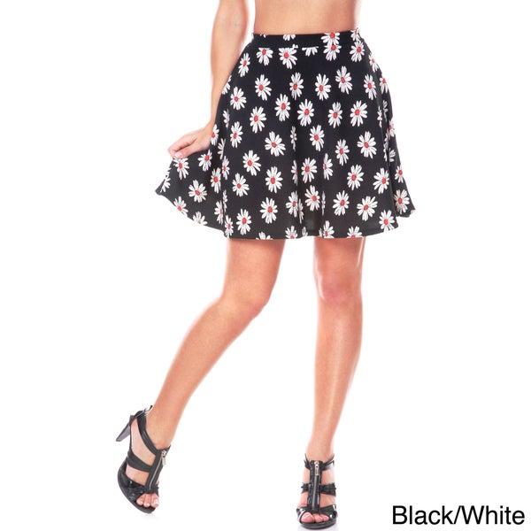 White Mark Women's Floral Flare Skirt