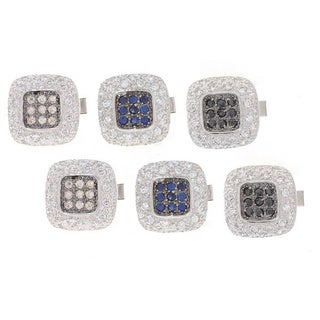 Icz Stonez Sterling Silver CZ Square Cuff Links