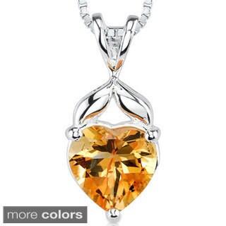 Oravo Sterling Silver Heart-shaped Gemstone Pendant