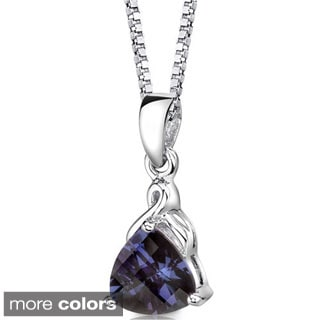 Oravo Sterling Silver Trillion-cut Gemstone Pendant