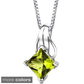 Oravo Sterling Silver Princess-cut Gemstone Pendant