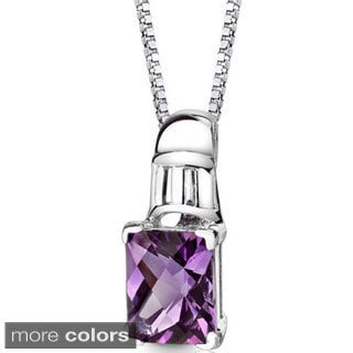 Oravo Sterling Silver Radiant-cut Gemstone Pendant