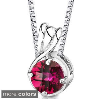 Oravo Sterling Silver Round-cut Gemstone Pendant