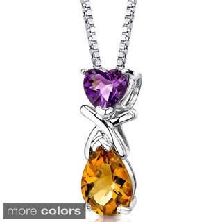 Oravo Sterling Silver Heart Gemstone Pendant