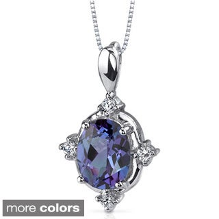 Oravo Sterling Silver Oval Multi-gemstone Necklace