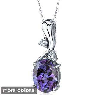 Oravo Sterling Silver Oval Gemstone Pendant Necklace