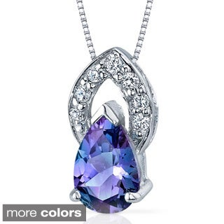 Oravo Sterling Silver Pear-cut Gemstone Pendant