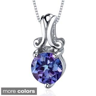 Oravo Sterling Silver Round Gemstone Swirl Pendant