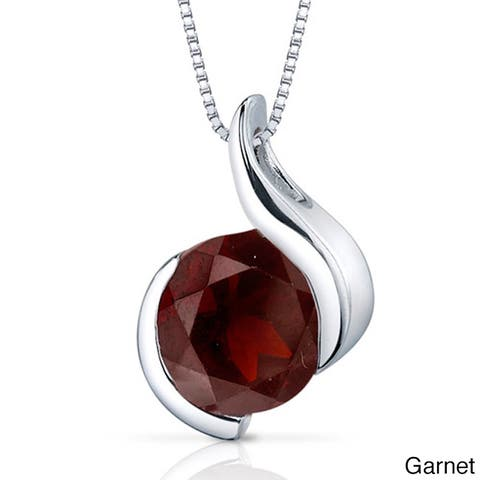 Oravo Sterling Silver Round Gemstone Box Chain Pendant