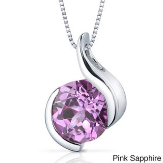 Oravo Sterling Silver Round Gemstone Box Chain Pendant (Option: Pink - Sapphire - Pink - September)