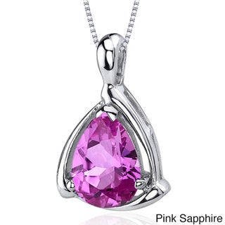 Oravo Sterling Silver Pear Gemstone Necklace