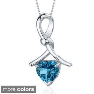 Oravo Sterling Silver Heart-cut Gemstone Knotted Necklace