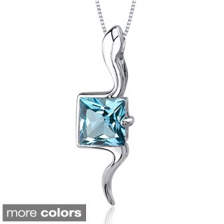 Oravo Sterling Silver Princess-cut Gemstone Flowing Necklace