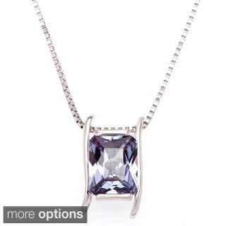 Oravo Sterling Silver Radiant Gemstone Pendant